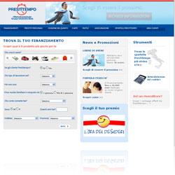 Screenshot del sito ufficiale della finanziaria Prestitempo