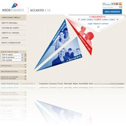 Screenshot del sito ufficiale della finanziaria Neos Finance