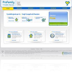 Screenshot del sito ufficiale della finanziaria ProFamily